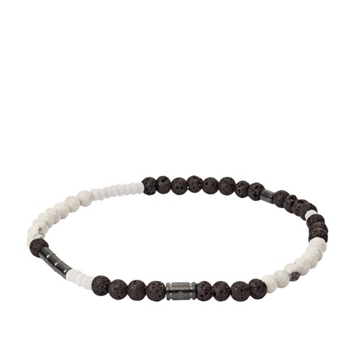 fossil Lava Stone  Dyed Jade and Howlite Bracelet JF03109793
