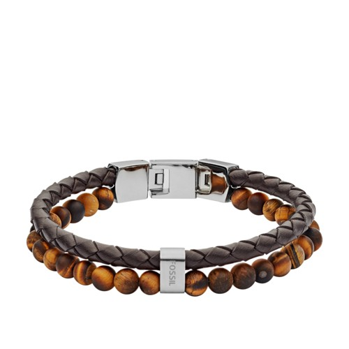 Tiger's Eye and Brown Leather Bracelet JF03118040