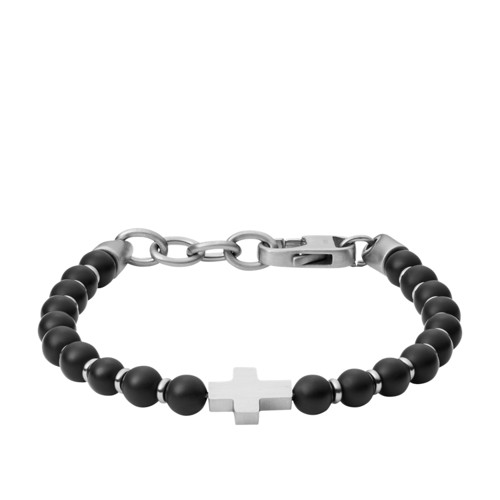 Black Agate and Stainless Steel Beaded Bracelet JF03121040