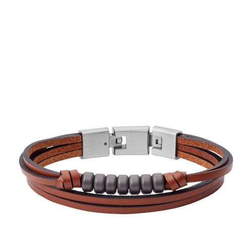 fossil Multi-Strand Hematite and Brown Leather Bracelet JF03128040
