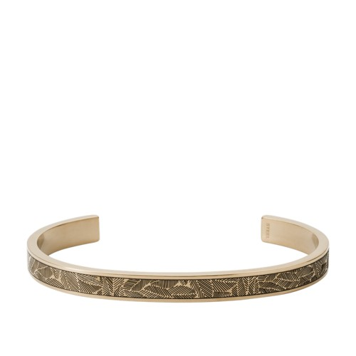 Textured Antique Gold-Tone Stainless Steel Open Cuff JF03129715