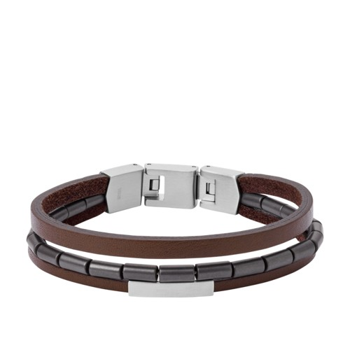 Multi-Strand Hematite and Brown Leather Bracelet JF03131040