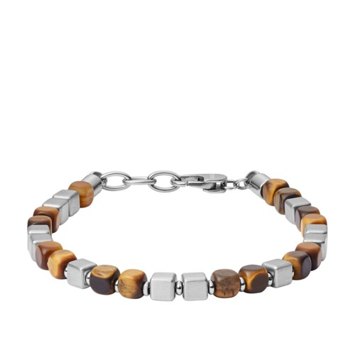Square Tiger's Eye and Stainless Steel Beaded Bracelet JF03132040