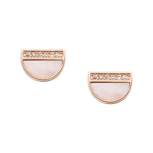 fossil Half Moon Rose Gold-Tone Stainless Steel Earrings JF03133791