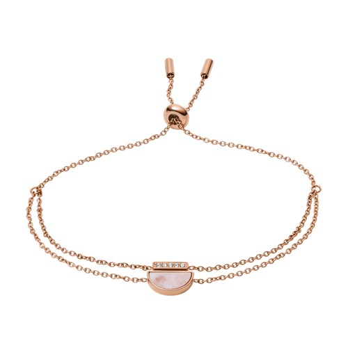 Duo Half Moon Rose Gold-Tone Stainless Steel Bracelet JF03134791