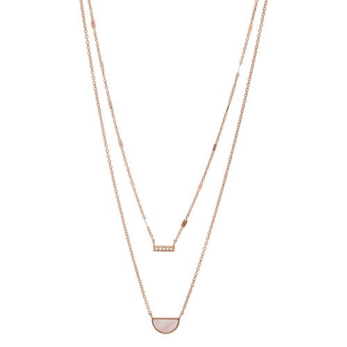 fossil Duo Half Moon Rose Gold-Tone Stainless Steel Necklace JF03135791