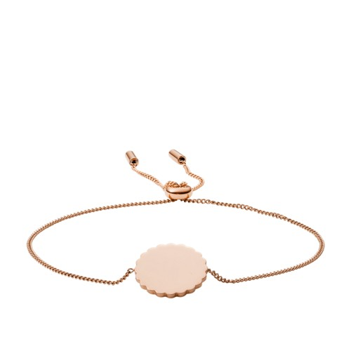 Scalloped Disc Rose Gold-Tone Stainless Steel Bracelet JF03151791