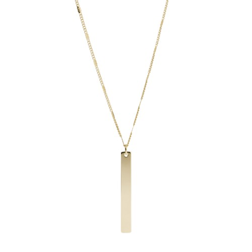 Fossil Bar Gold-Tone Stainless Steel Necklace  jewelry JF03153710