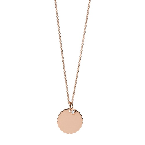 fossil Scalloped Disc Rose Gold-Tone Stainless Steel Necklace JF03154791