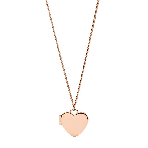 fossil Darling Locket Rose Gold-Tone Stainless Steel Necklace JF03155791