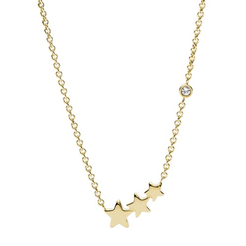 fossil Shooting Star Gold-Tone Stainless Steel Necklace JF03161710