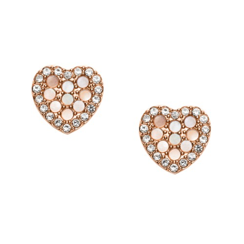 Mosaic Heart Rose Gold-Tone Stainless Steel Earrings JF03162791