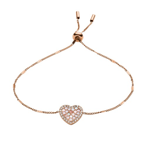 fossil Mosaic Heart Rose Gold-Tone Stainless Steel Bracelet JF03163791