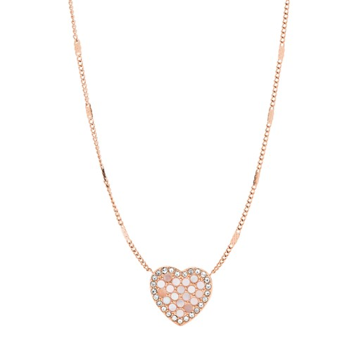 fossil Mosaic Heart Rose Gold-Tone Stainless Steel Necklace JF03164791