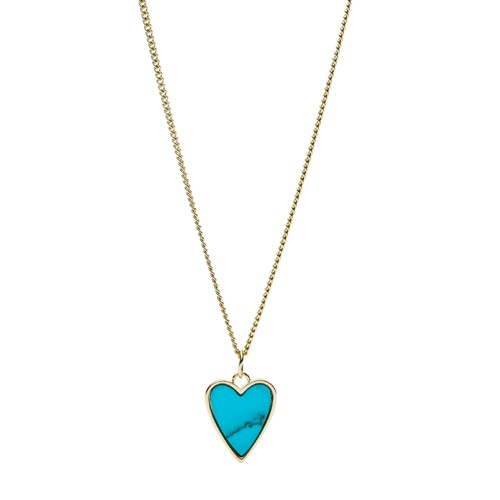 fossil Heart Gold-Tone Stainless Steel Necklace JF03166710
