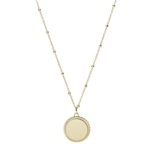 fossil Scalloped Disc Gold-Tone Stainless Steel Necklace JF03167710