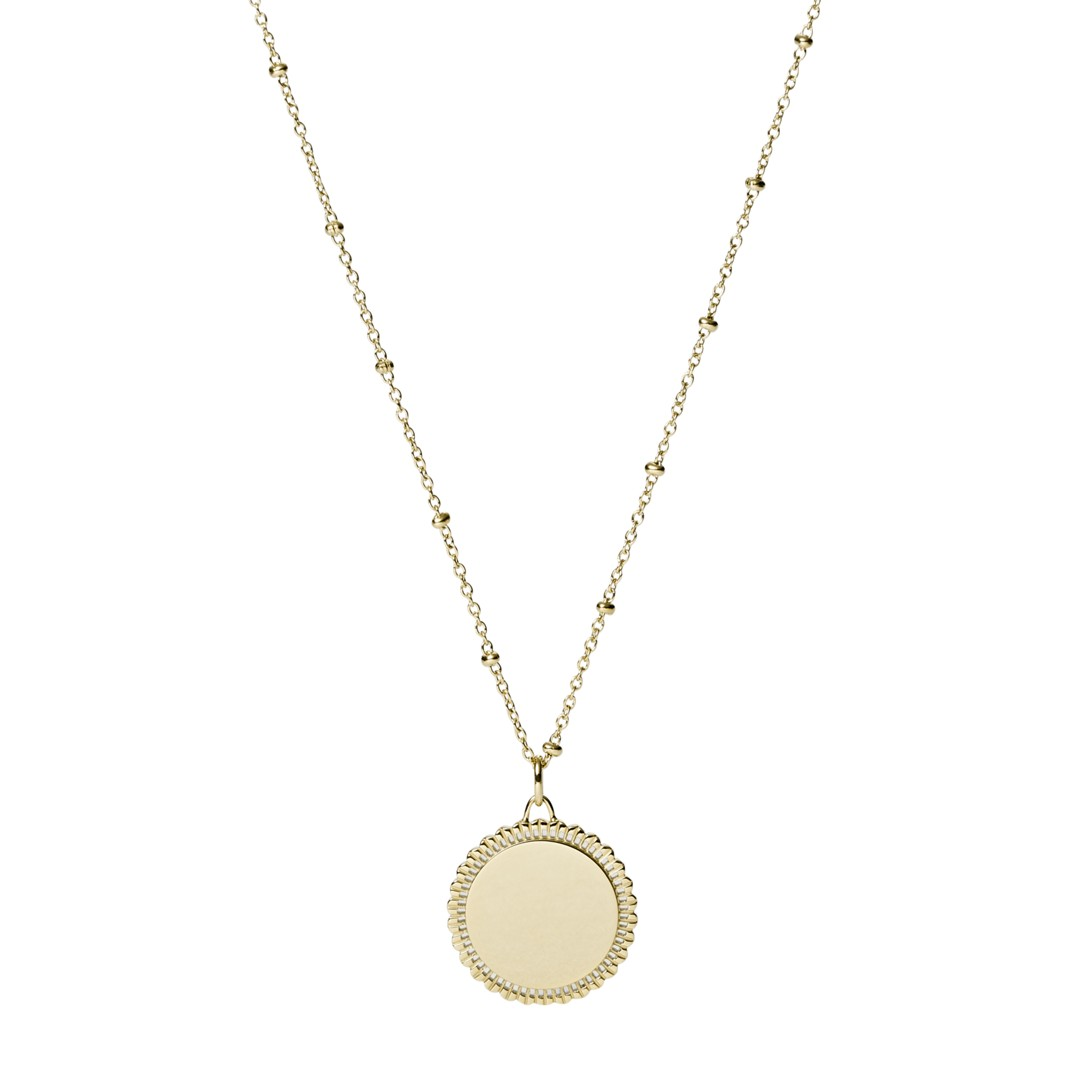 Fossil Scalloped Disc Gold-Tone Stainless Steel Necklace Jf03167710 jewelry - JF03167710-WSI