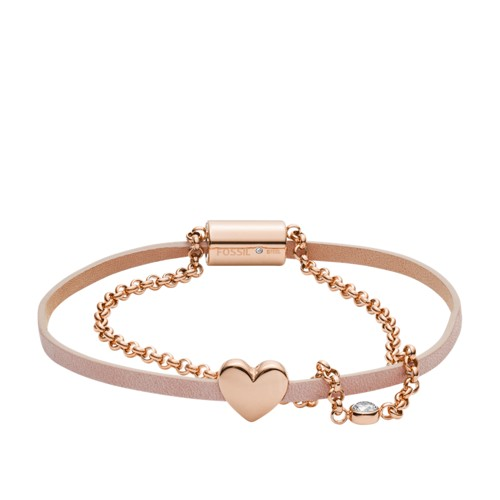 Duo Heart Rose Gold-Tone Stainless Steel Bracelet JF03170791