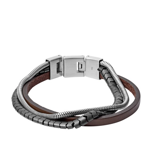fossil Multi-Strand Hematite and Brown Leather Bracelet JF03178040