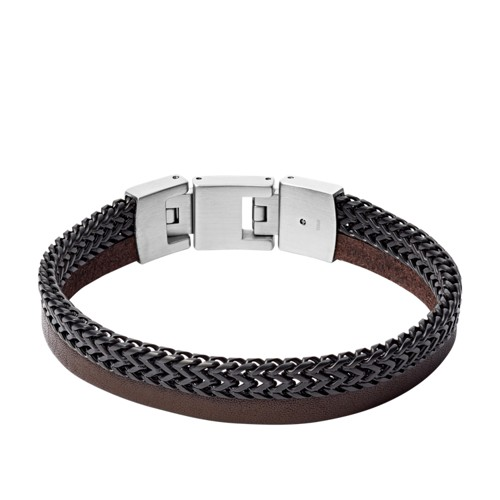 fossil Duo Black Stainless Steel and Brown Leather Bracelet JF03180040