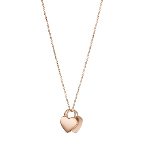 fossil Duo Heart Rose Gold-Tone Stainless Steel Necklace JF03205791