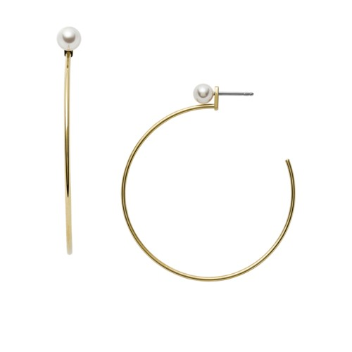 fossil White Glass and Gold-Tone Stainless Steel Convertible Earrings JF03207710