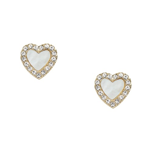 fossil Heart Gold-Tone Stainless Steel Studs JF03215710