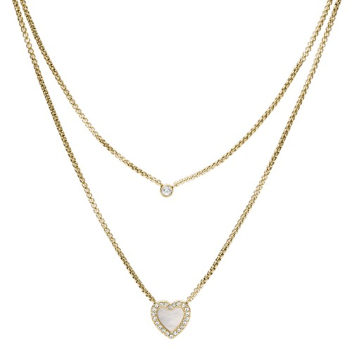 fossil Heart Duo Gold-Tone Stainless Steel Necklace JF03217710
