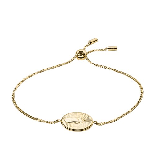 Feather Pendant Gold-Tone Stainless Steel Bracelet JF03237710