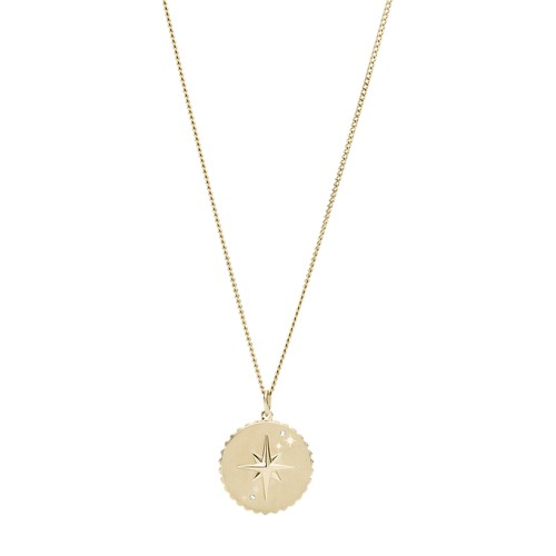 North Star Pendant Gold-Tone Stainless Steel Necklace JF03241710