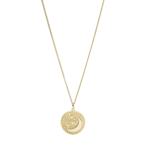 Moon + Star Pendant Gold-Tone Stainless Steel Necklace JF03242710