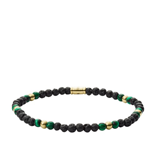 Gold-Tone Stainless Steel  Lava Stone and Reconstituted Turquoise Bracelet JF03254710