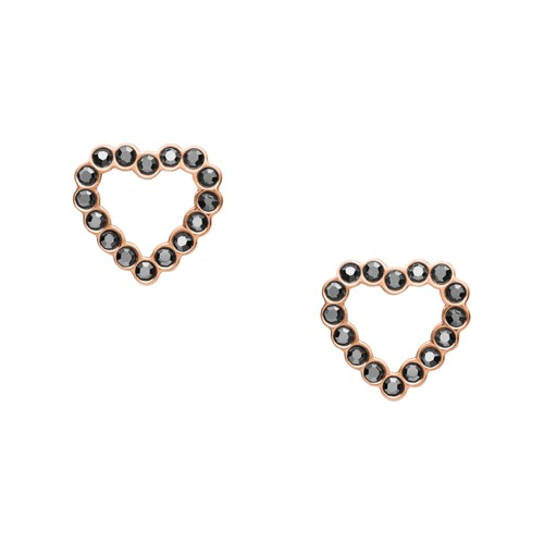 fossil Open Heart Rose Gold-Tone Stainless Steel Earrings JF03256791