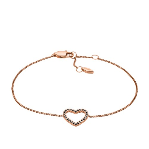 fossil Open Heart Rose Gold-Tone Stainless Steel Bracelet JF03257791