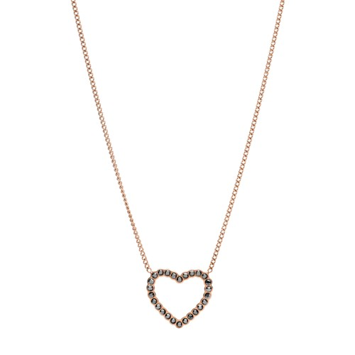 Open Heart Rose Gold-Tone Stainless Steel Necklace JF03258791
