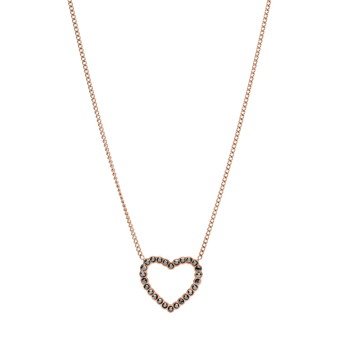 Fossil Open Heart Rose Gold-Tone Stainless Steel Necklace Jf03258791 jewelry - JF03258791-WSI