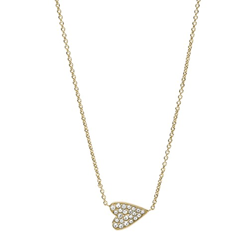 fossil Heart Gold-Tone Stainless Steel Necklace JF03261710