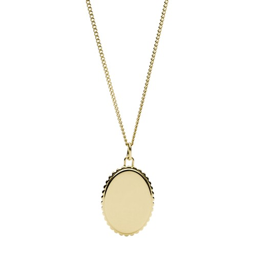 Fossil Scalloped Edge Gold-Tone Steel Pendant  jewelry JF03280710