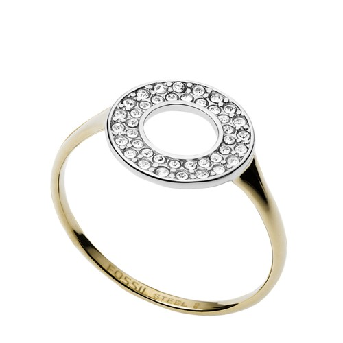 Fossil Two-Tone Steel And Glitz Ring  jewelry JF03284998