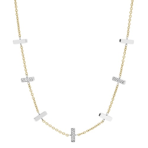 fossil Two-Tone Stainless Steel and Glitz Necklace JF03287998
