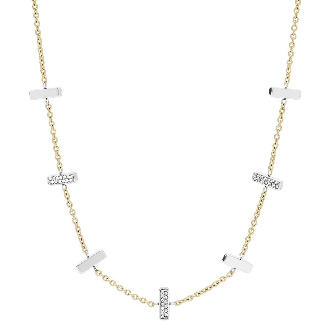 Fossil Two-Tone Stainless Steel And Glitz Necklace Jf03287998 jewelry - JF03287998-WSI