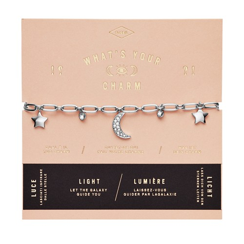 Moon and Stars Silver-Tone Steel Charm Bracelet JF03289040