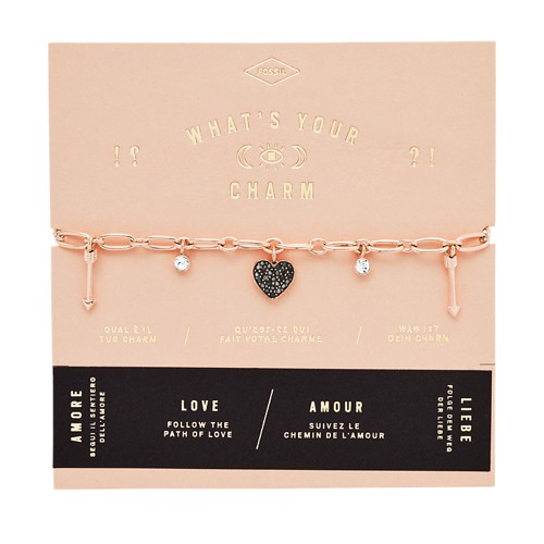 Heart Rose Gold-Tone Steel Charm Bracelet JF03290791