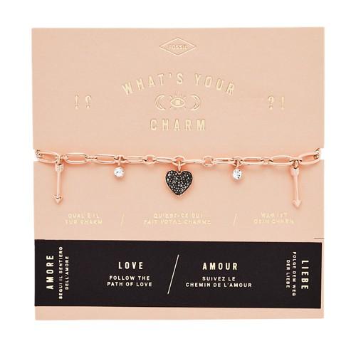 Fossil Heart Rose Gold-Tone Steel Charm Bracelet  jewelry JF03290