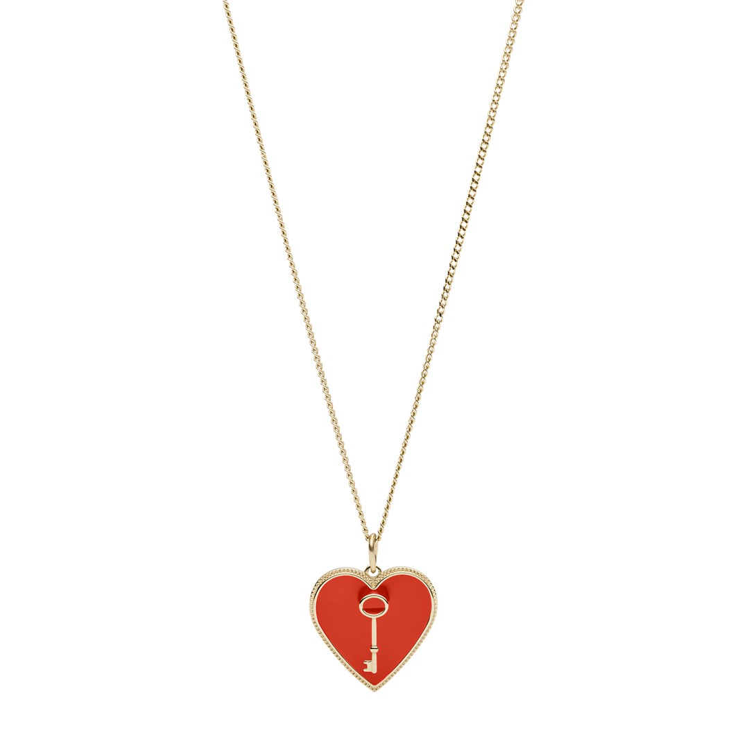 Fossil Heart And Key Gold-Tone Steel Pendant Jf03297710 jewelry - JF03297710-WSI
