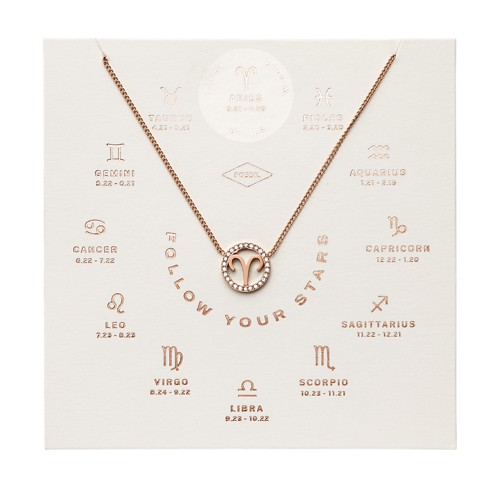 Aries Pendant Rose Gold-Tone Stainless Steel Necklace JF03300791
