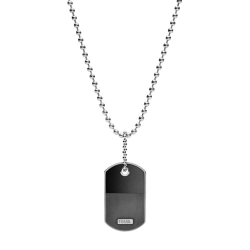 Fossil Dog Tag Silver-Tone Steel Necklace  jewelry SILVER
