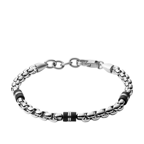 Black Marble and Silver-Tone Steel Beaded Bracelet JF03313040