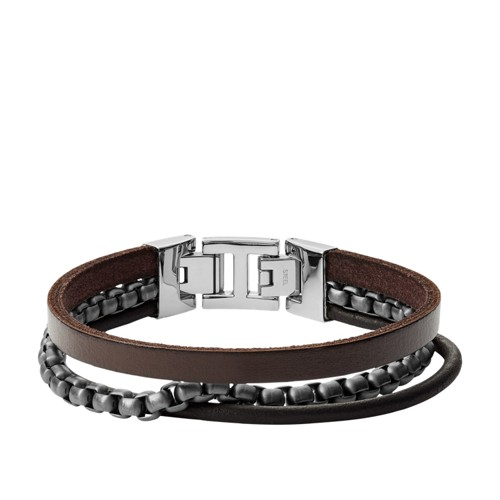 Multi-Strand Gunmetal-Tone Steel and Leather Bracelet JF03319998