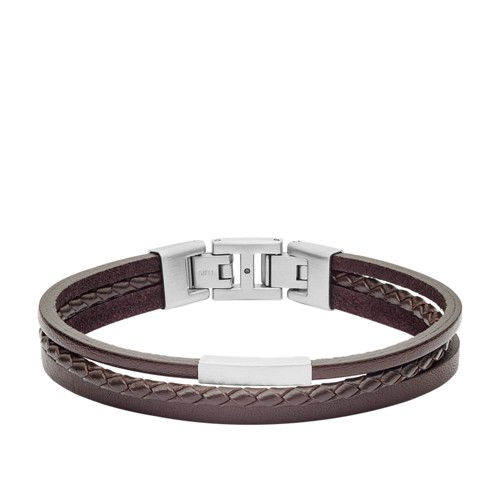 Multi-Strand Silver-Tone Steel and Brown Leather Bracelet JF03323040